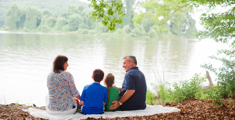 Family by Lake